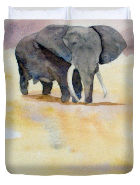 Duvet Cover featuring the painting Great African Elephant  by Vicki  Housel