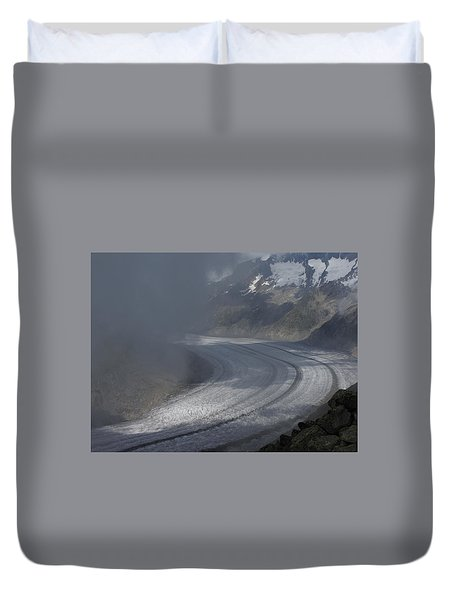 Great Aletsch Glacier In The Clouds. Canton Of Valais, Switzerland. Duvet Cover