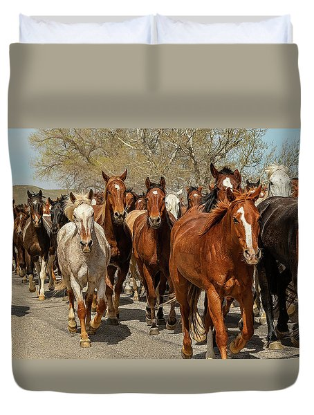 Duvet Cover featuring the photograph Great American Horse Drive by Brenda Jacobs