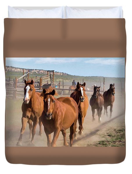 Duvet Cover featuring the digital art Great American Horse Drive - Coming Into The Corrals by Nadja Rider