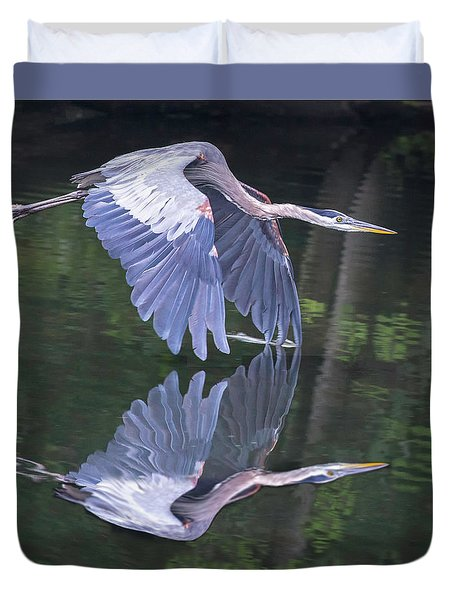 Great Blue Heron 01 Duvet Cover