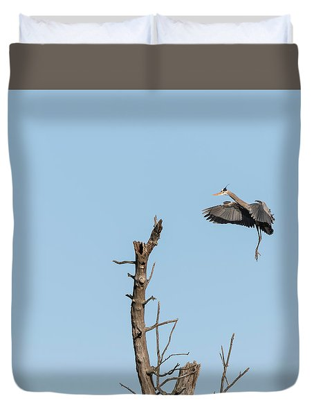Great Blue Heron 2017-3 Duvet Cover by Thomas Young