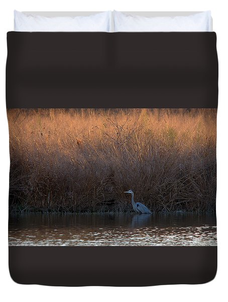 Great Blue Heron And Sunlit Field Duvet Cover