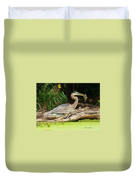 Great Blue Heron Catch Duvet Cover by Edward Peterson
