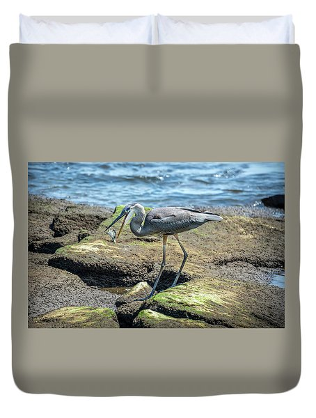 Great Blue Heron Catching A Blue Crab On Chesapeake Bay Duvet Cover
