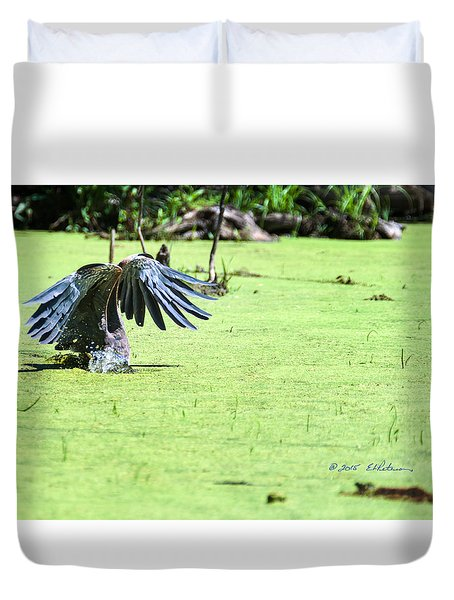 Great Blue Heron Dunk Duvet Cover by Edward Peterson