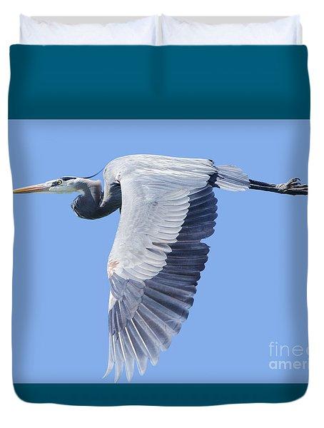Great Blue Heron Flying Duvet Cover