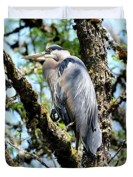 Great Blue Heron In A Tree Duvet Cover