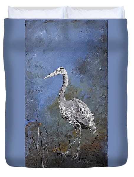 Great Blue Heron In Blue Duvet Cover