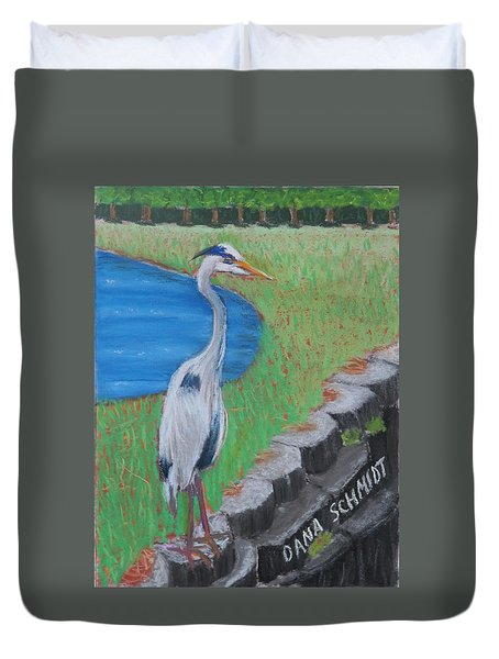 Great Blue Heron In Front Of Orchard Duvet Cover