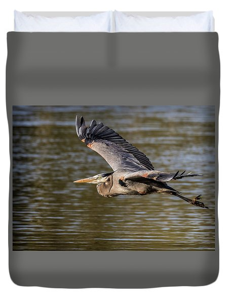 Great Blue Heron In Stratford Duvet Cover