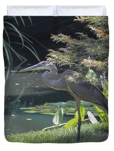 Great Blue Heron Duvet Cover by Linda Geiger