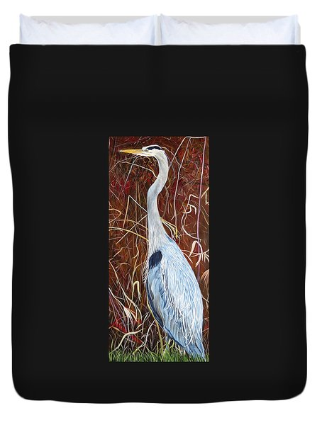 Great Blue Heron Duvet Cover by Marilyn  McNish