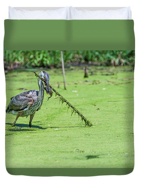 Great Blue Heron Mouthful Duvet Cover by Edward Peterson