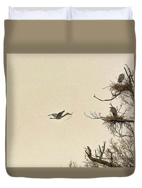 Great Blue Heron Nest Building Duvet Cover