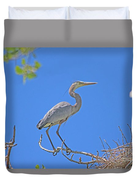 Great Blue Heron Nest Protector  Duvet Cover