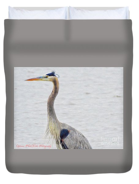 Great Blue Heron Of Virginia Duvet Cover