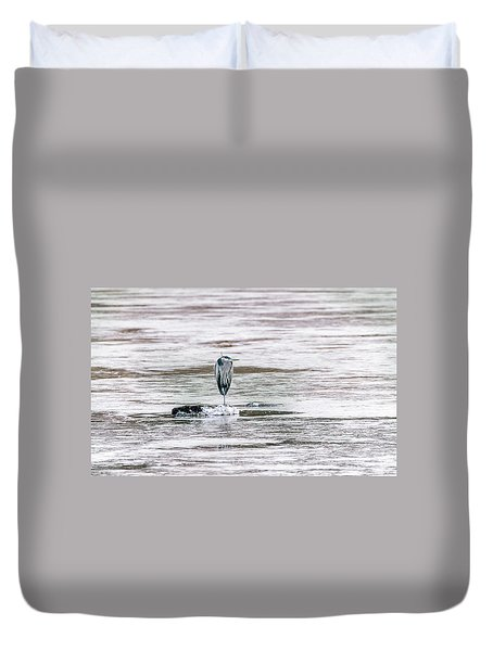 Great Blue Heron On A Frozen Lake Duvet Cover