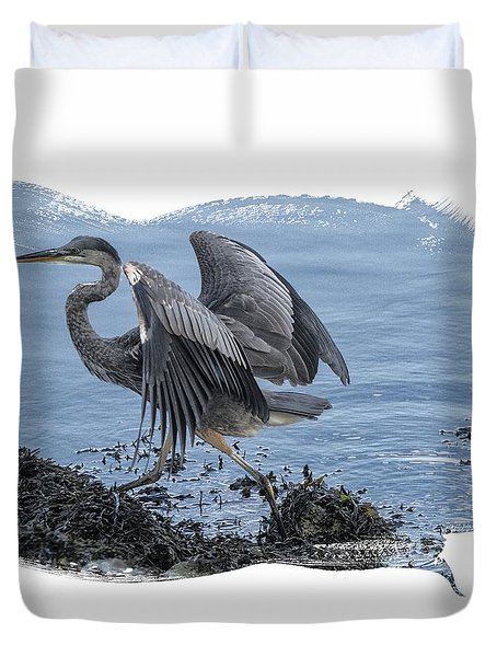 Great Blue Heron On Cape Cod Canal 1 Duvet Cover by Constantine Gregory
