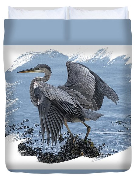 Great Blue Heron On Cape Cod Canal 2 Duvet Cover by Constantine Gregory