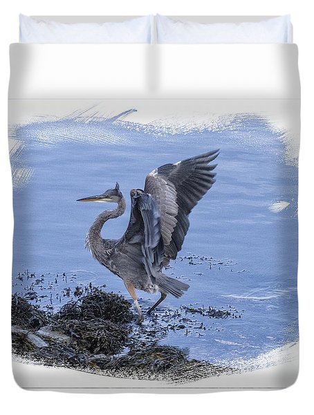 Great Blue Heron On Cape Cod Canal 3 Duvet Cover by Constantine Gregory