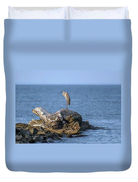Great Blue Heron On Chesapeake Bay Duvet Cover