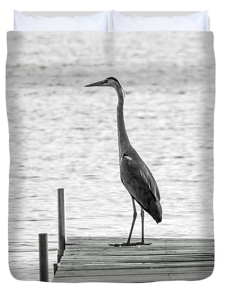 Great Blue Heron On Dock - Keuka Lake - Bw Duvet Cover by Photographic Arts And Design Studio