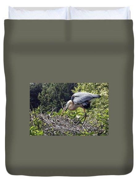 Great Blue Heron On Nest Duvet Cover