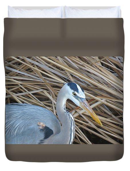 Great Blue Heron On Spi Duvet Cover