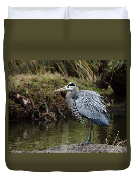 Duvet Cover featuring the photograph Great Blue Heron On The Watch by George Randy Bass