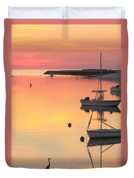 Great Blue Heron Pamet Harbor Cape Cod Sunset Duvet Cover