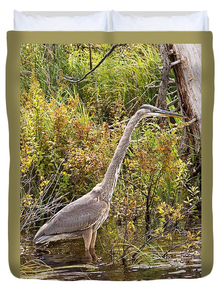 Duvet Cover featuring the photograph Great Blue Heron by Peter J Sucy
