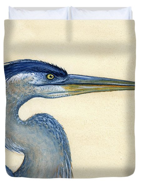 Great Blue Heron Portrait Duvet Cover by Charles Harden