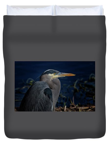 Duvet Cover featuring the photograph Great Blue Heron by Randy Hall