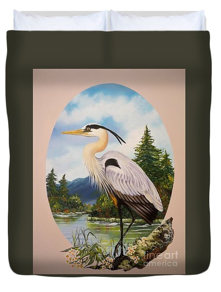 Flying Lamb Productions                 Great Blue Heron Duvet Cover