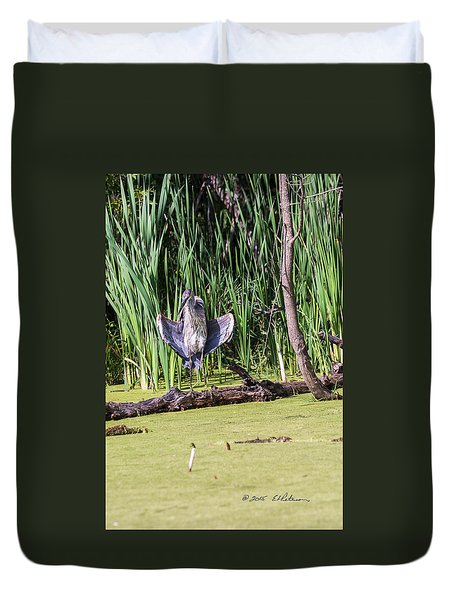 Great Blue Heron Sunning Duvet Cover by Edward Peterson