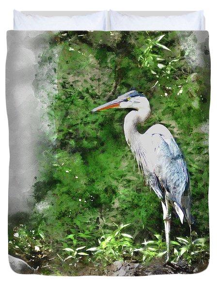 Great Blue Heron Watercolor Duvet Cover