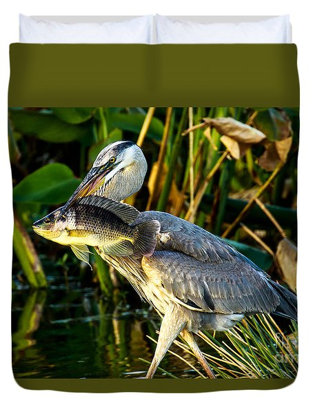Great Blue Heron With Fish Duvet Cover