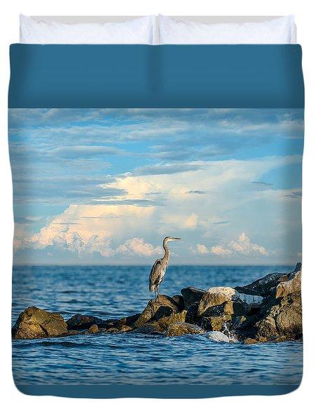 Great Blue Heron World Duvet Cover