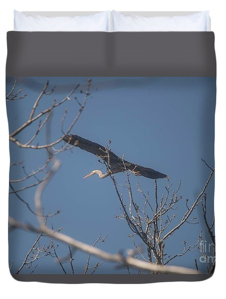 Duvet Cover featuring the photograph Great Blue In Flight by David Bearden