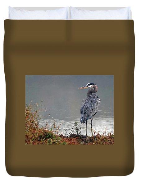 Great Blue Heron Landscape Duvet Cover