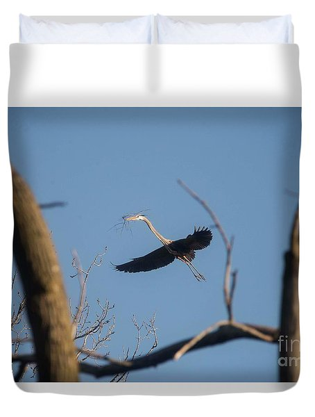 Duvet Cover featuring the photograph Great Blues Nesting by David Bearden