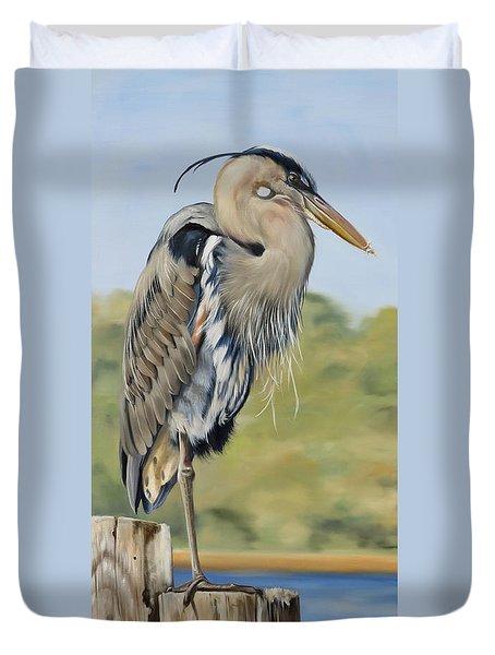 Great Blue Heron Standing Duvet Cover