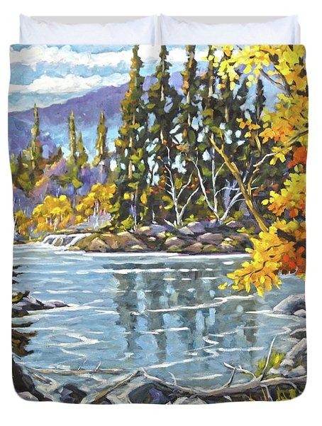 Great Canadian Lake  - Large Original Oil Painting Duvet Cover
