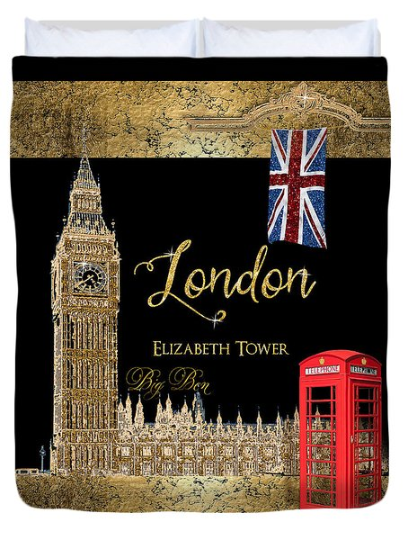 Great Cities London - Big Ben British Phone Booth Duvet Cover