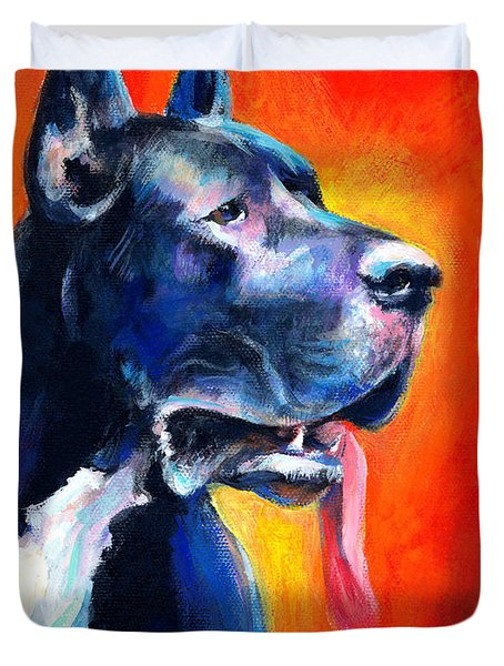 Great Dane Dog Portrait Duvet Cover