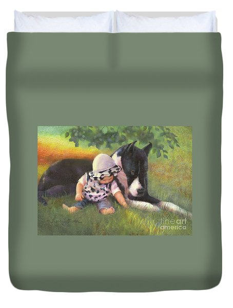 Duvet Cover featuring the painting Great Dane With Baby by Nancy Lee Moran