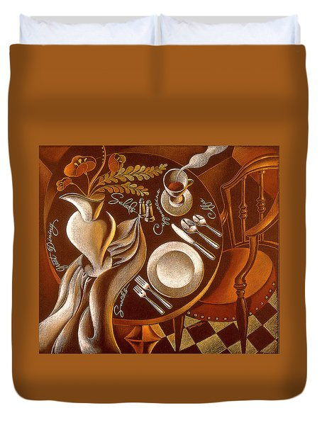 Duvet Cover featuring the painting Great Dining by Leon Zernitsky