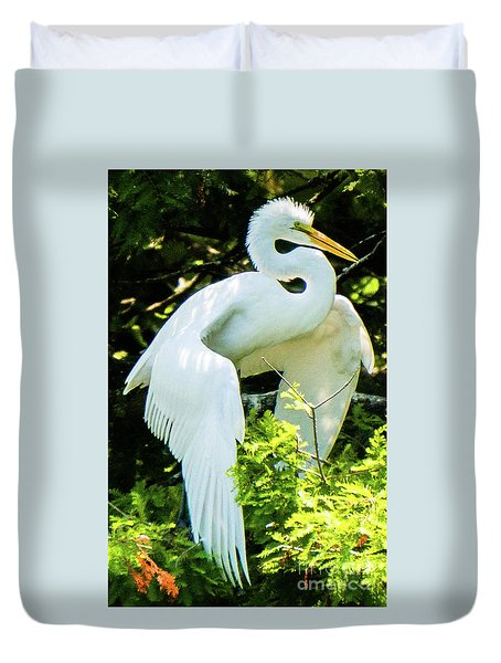 Great Egret Stretching Duvet Cover