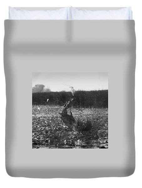 Duvet Cover featuring the photograph Great Egret At Horicon Marsh  by Ricky L Jones